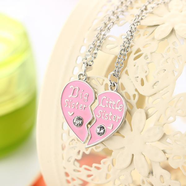 Peach Heart With Diamond Sister Pendant Set Necklace