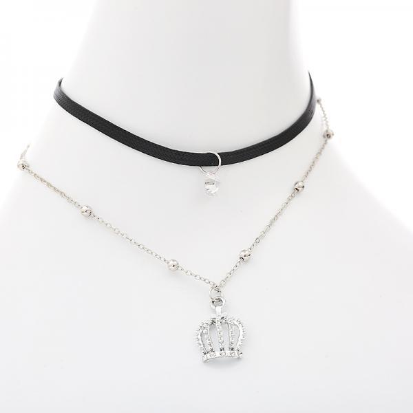 Crown Pendant Leather Strap Alloy Clavicular Necklace