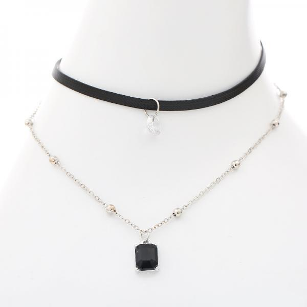 Square Drill Leather Strap Alloy Clavicular Necklace