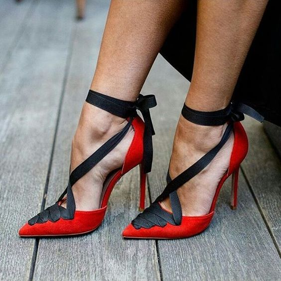 Straps Bow Pointed Toe Lace-up Low Cut Stiletto High Heels