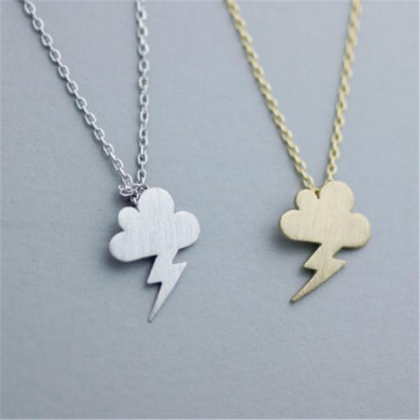 Small Fresh Cloud Lightning Storm Cloud Necklace
