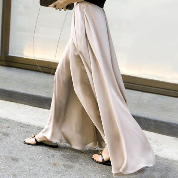 Chiffon High Waist Pure Color Loose Elastic Wide-legs Long Pants