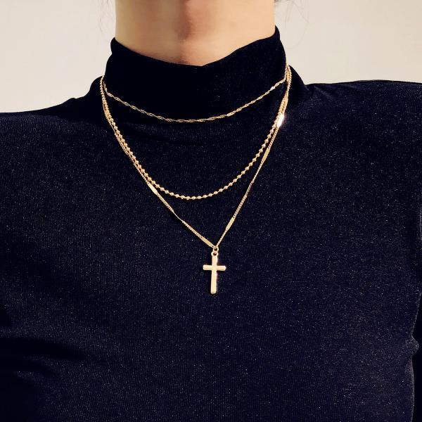 Fashion Vintage Cross Multi-layer Necklace