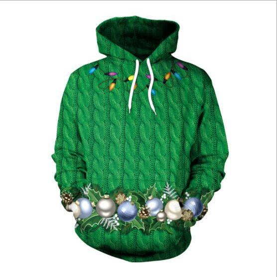 Drawstring Digital Print Women Christmas Green Hoodie
