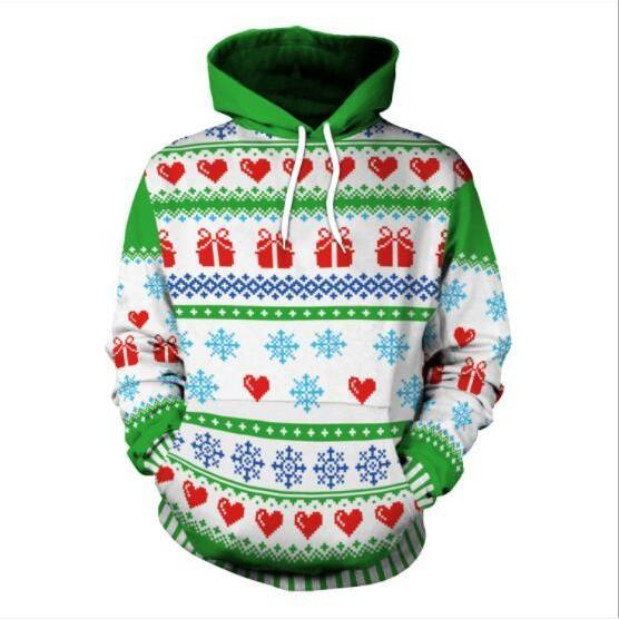 Snow 3D Digital Print Women Hooded Christmas Party Hoodie
