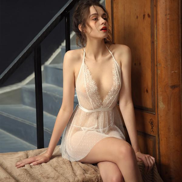 Summer Sexy Sleepwear Night Dress Lingerie Thin Gauze Lace Temptation Mesh Deep V Suspender Nightdress