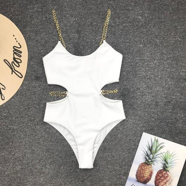 Cutout Plain Chain Backless High Cut Swimsuits