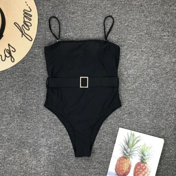 Black Plain Belt High Rise High Cut Swimsuits