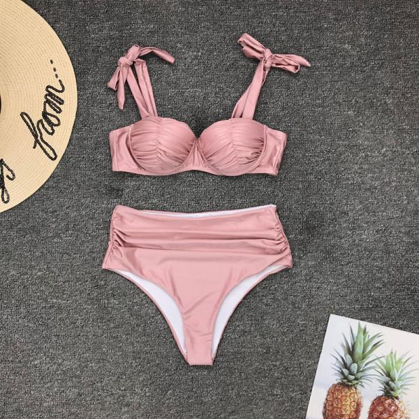 Pink Strap High Rise Padded Top Triangle Bikinis