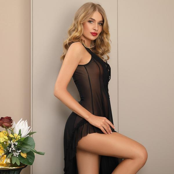 Sexy Lace Night Dress Summer Nightgown Women Sleep Dress see through(QQ20062908)