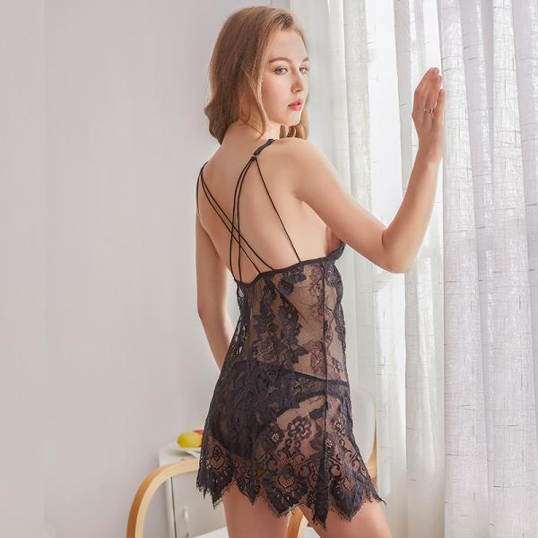 Sexy Lace Night Dress Summer Nightgown Mini Nightwear Bathrobe Women Sleep Dress see through(QQ20062910)