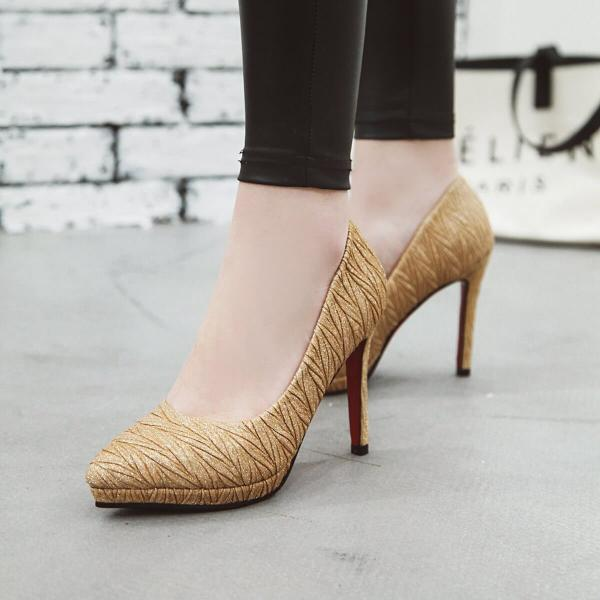 Sexy Plain Sequin Pointed Toe Pumps
