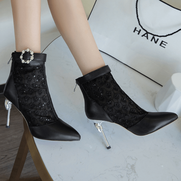Sexy PU Mesh Patchwork Pointed Toe High Heel Ankle Boots