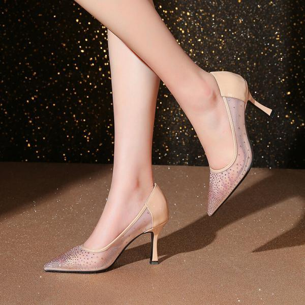 Wedding Mesh Pointed Toe Rhinestone See Through High Heel Pumps