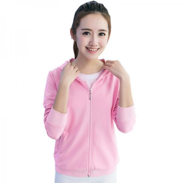 Long sleeve candy color Cardigan hooded casual Light Pink Sweater For Girl