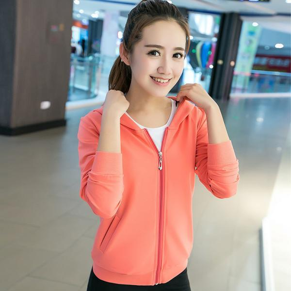 Long sleeve candy color Cardigan hooded casual Orange Sweater For Girl