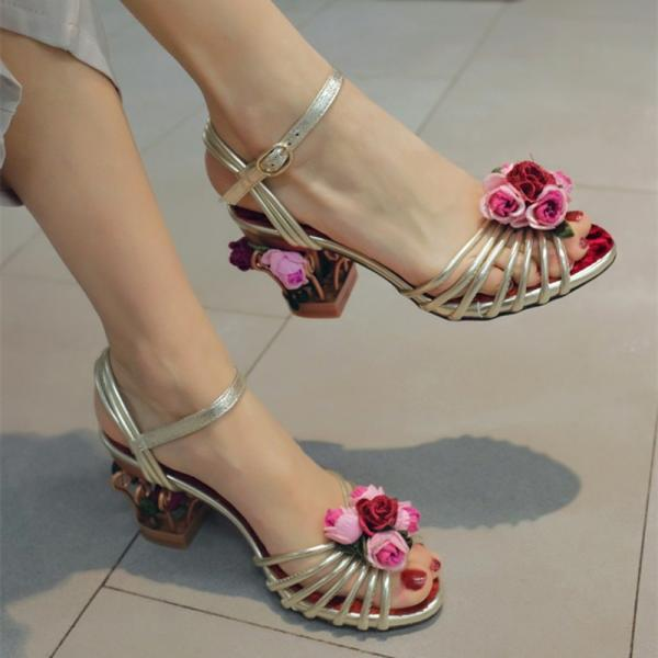 Leather Flower Cutout Open Toe High Heel Sandals