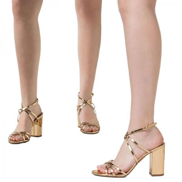 Champagne Patent Leather Chunky Heel Buckle Sandals