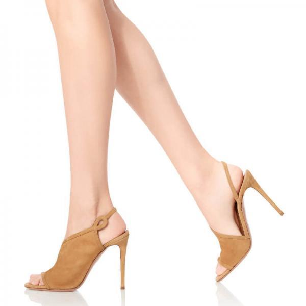 Brown Summer Suede Peep Toe Plain High Heel Sandals