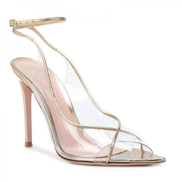 Champagne PVC Point Toe High Heel Buckle Sandals