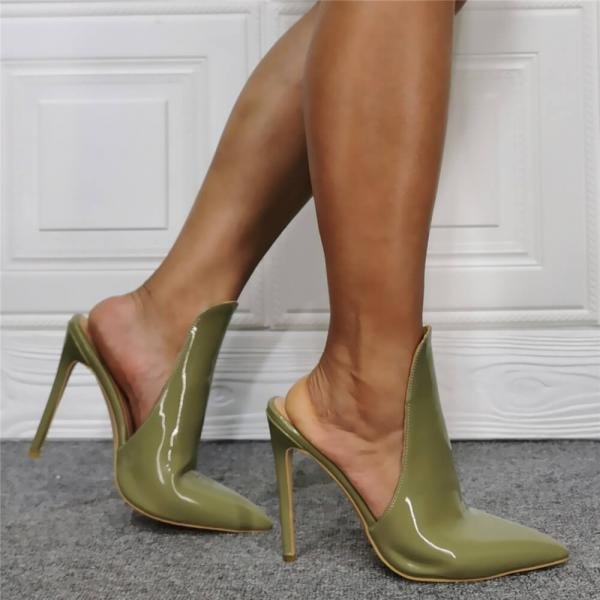 Green Patent Leather Point Toe High Heel Mule Sandals