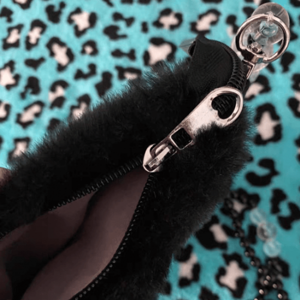 Black Hadmade Customize Fur Pearl Crossbody Bags