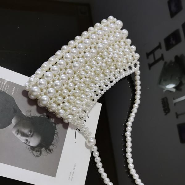 Color1# Retro Hadmade Customize Pearl Crossbody Knit Bags