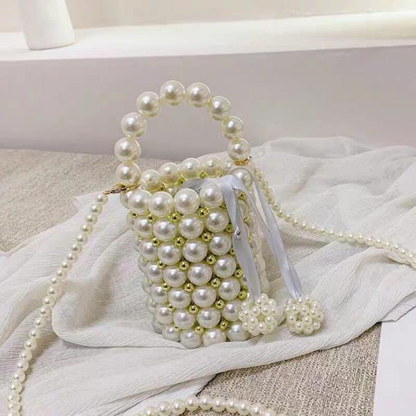 Retro Hadmade Customize Pearl Satchel Strap Bucket Bags