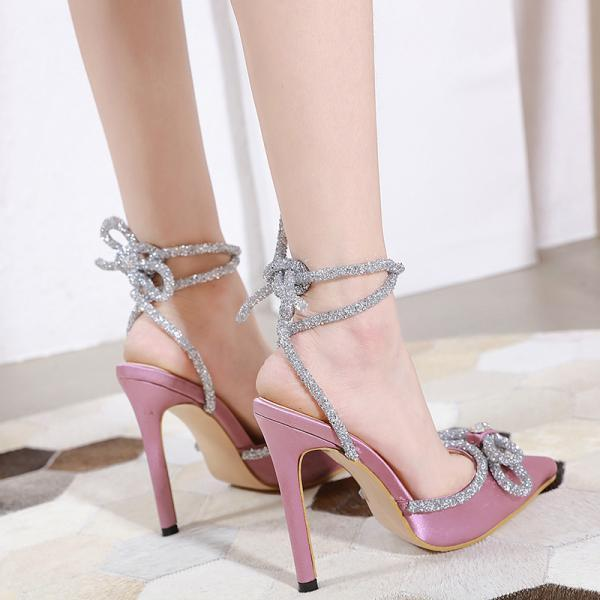 Bow Tie Thin High Heel Pointed Diamond Strapping Sandals