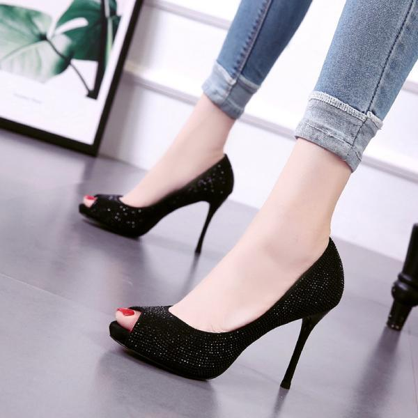 Fish mouth water drill thin heel high heel sandals-Black