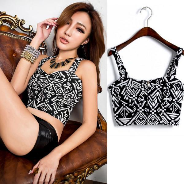 New Womens ladies Beautiful Sexy Printed Zipper Front Crop Top