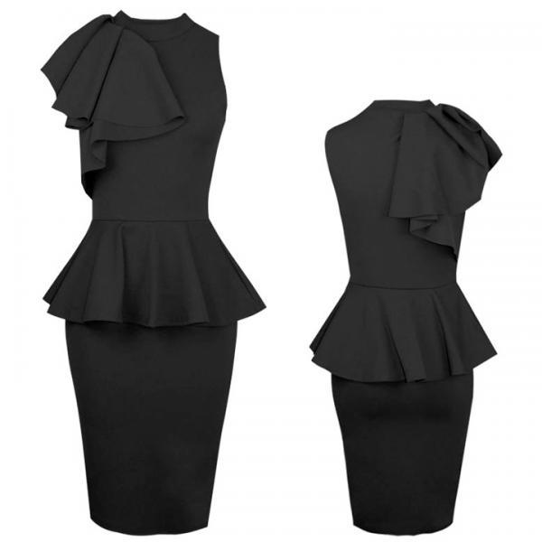 Women New Fashion Sleeveless Ruffle Side Bodycon Midi Party Evening Dress