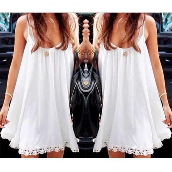 New Women's Strap Sun-top Chiffon Lace Trim Loose Mini Dress Long Tops Shirts Blouses