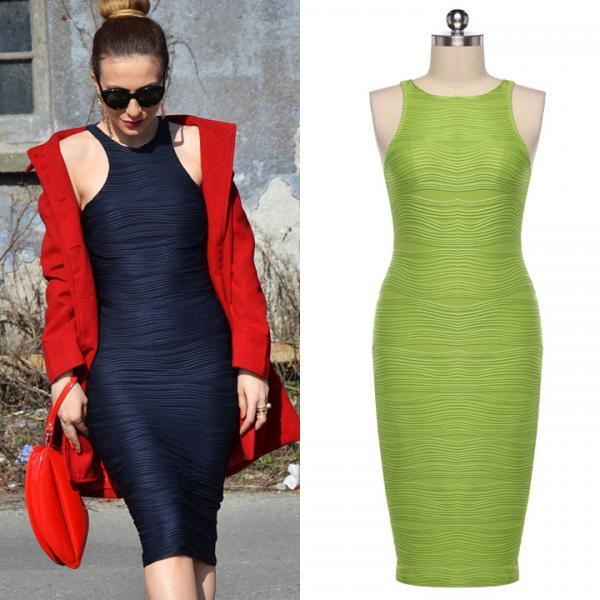 Stylish Sexy Women Sleeveless O-neck Over-the-knee Bodycon Dress