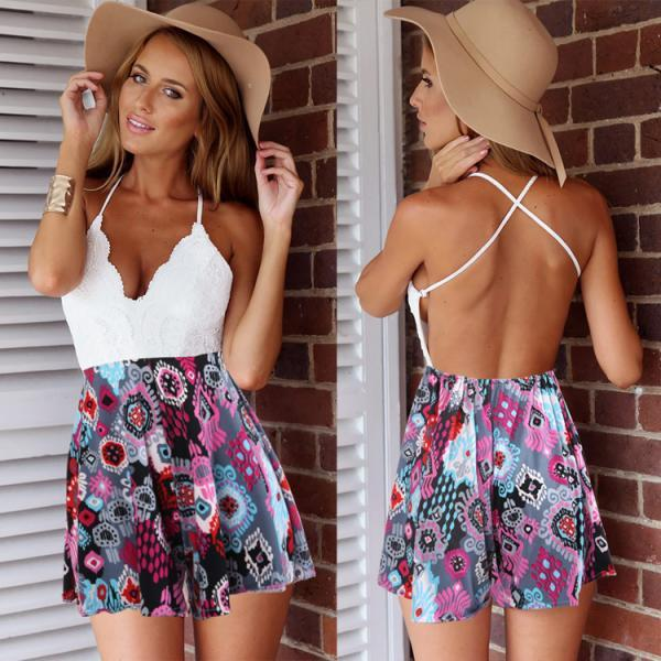 Best Sale New Women Summer Off-shoulder Casual Sexy Backless Patchwork Lace Print Jumpsuit
