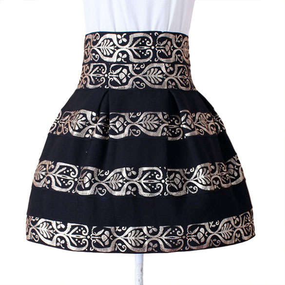 Fashion Women's High Waist Black Stripe Zipper Flower Printed Mini Pleated Skirt