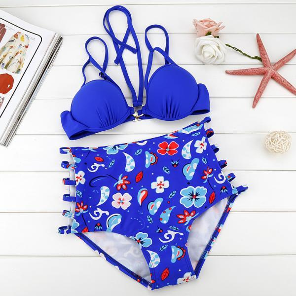 Stylish Sexy Women's Bikini Set Flower High Waist Beach Swimwear Swimsuit