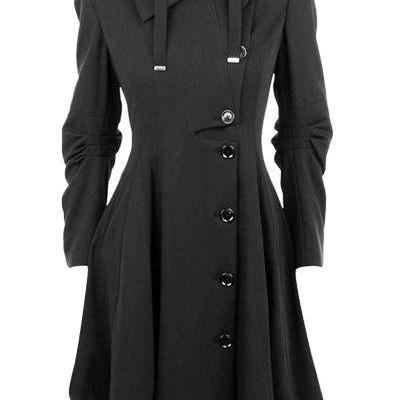 Asymmetric Turn Down Collar Button Overcoat