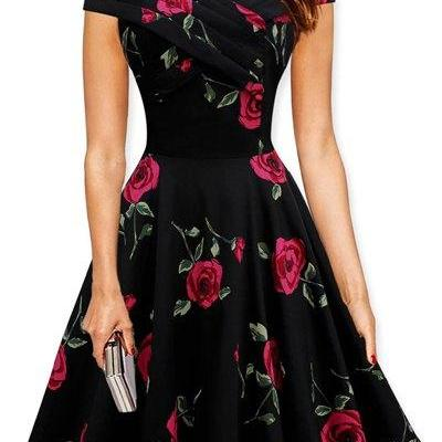 Retro Style Women s V-Neck Rose Print Short Sleeve Ball Dress