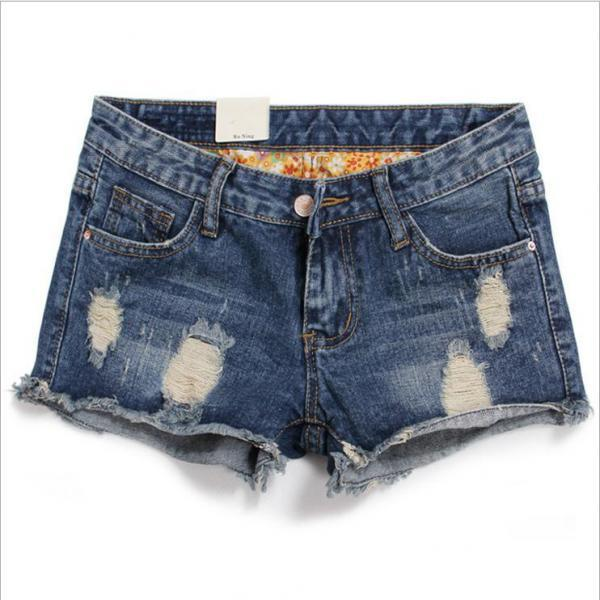 Plus Size Hole Ripped Rolled Hem Shorts