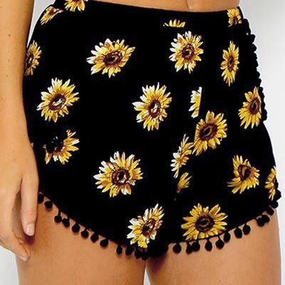 Beach Flower Print Balls Elastic Hot Shorts