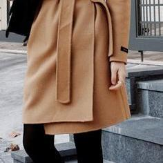 Slim Turn-down Collar Slim Belt Woolen Coat