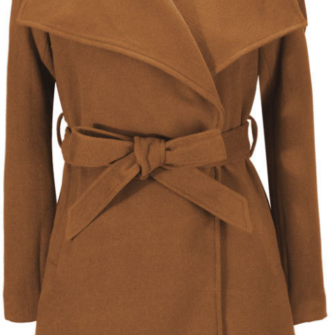 Belt Lapel Slim Long Solid Coat