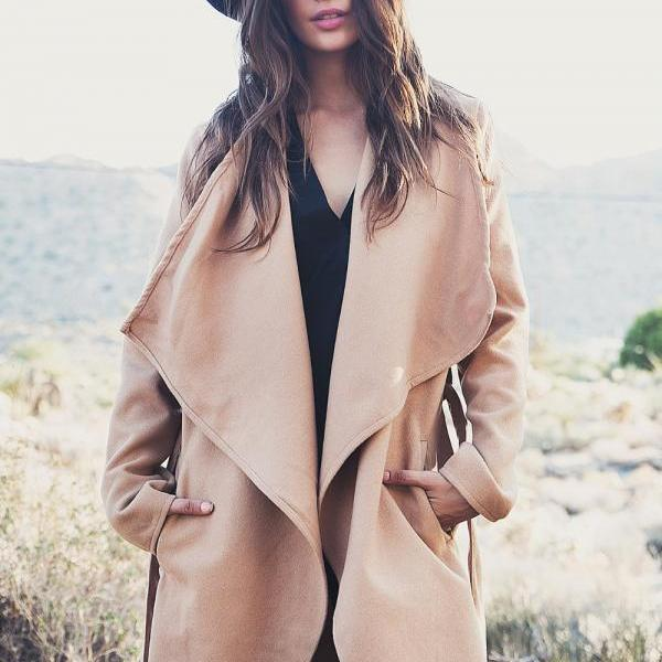 Khaki Belt Asymmetric Long sleeve Coat