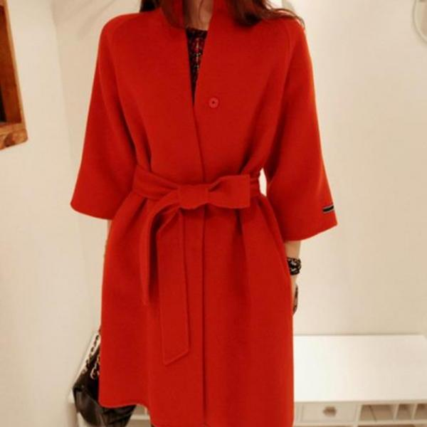 3/4 Sleeves Belt Solid Slim Stand Collar Long Coat