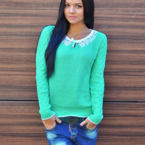 Lace Scoop Pure Color Pullover Slim Sweater