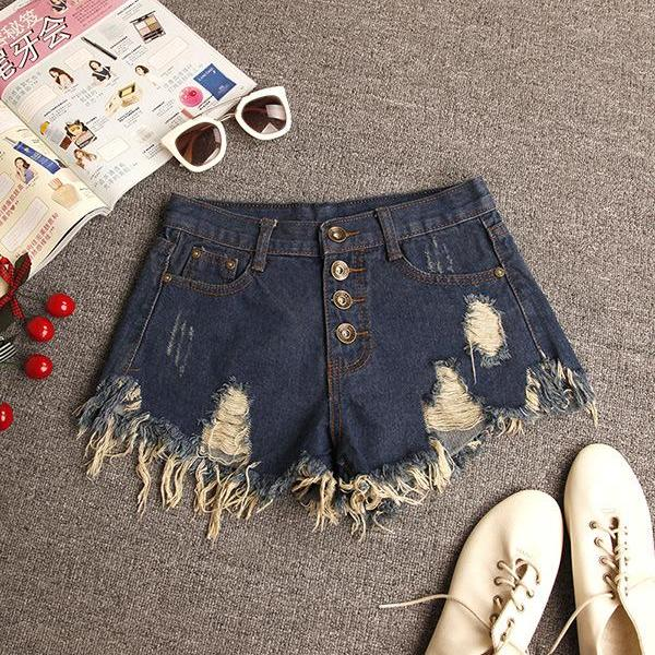 Ripped Tassel Rough Edges High Waist Slim Button Denim Shorts