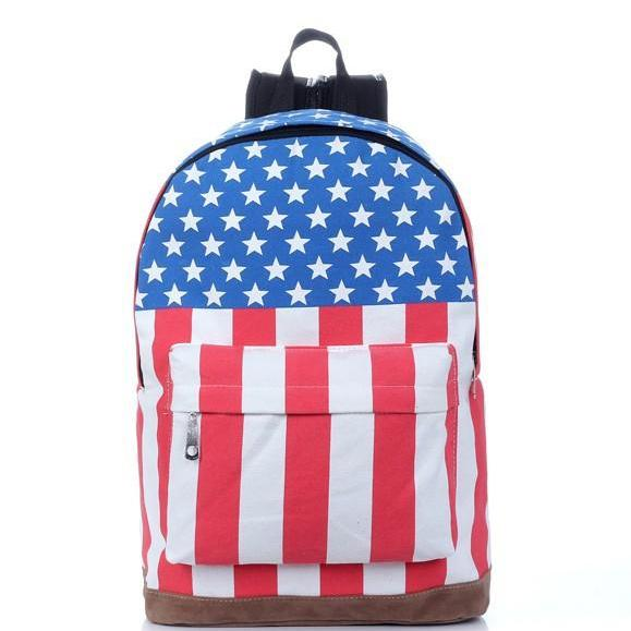 National Flag Print Backpack Canvas Travel School Bag
