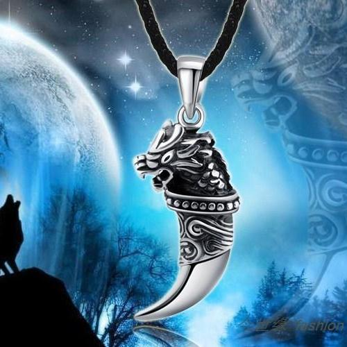 Tooth of wolf ,Titanium casting Pendant Necklace