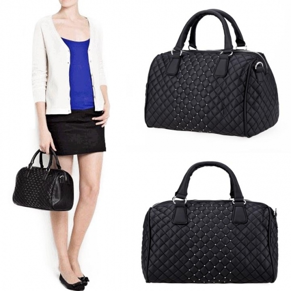 New Women's Black Geometric Handbag Tote Shoulder Cross Bag